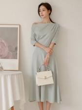 Off Shoulder Fitted Large Hem Ladies Dress