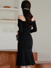 Boat Neck Fishtail Hem Long Sleeve Bodycon Dress