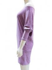 Boat Neck Bat Sleeve Long Sleeve Bodycon Dress