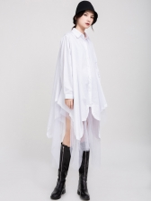 Loose Irregular Patchwork Long Sleeve Shirt Dress