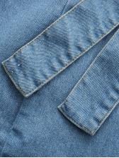 Fashion Fishtail Hem Sleeveless Denim Dress