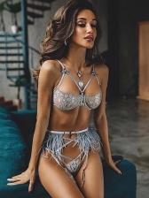 Lace Cross Bandage Sexy Ladies Bra Suit