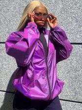 Pure Color Reflective Light Elastic Waist Overcoat