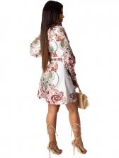 Turndown Neck Vintage Printed Shirt Dress