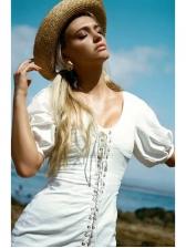 V Neck Lace Up Short Sleeve White Dress