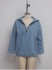 Chic Drawstring Hem Long Sleeve Hooded Denim Coat