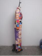 Deep V Neck Printed Long Sleeve Wide Leg Jumpsuit