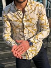 Plus Size Slim Fit Chain Printed Men Shirt