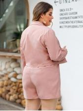 Solid Long Sleeve Blazer Short Pants For Women