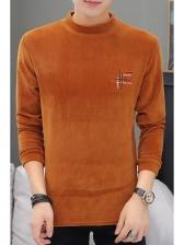 Stylish Embroidery Decor Long Sleeve t Shirt