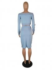 Off Shoulder Long Sleeve Crop Top And Skirt Set