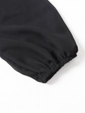 Deep V Neck Chiffon Long Sleeve Bodysuit