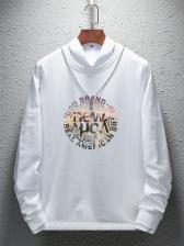 Chic Long Sleeve Letter Printed Male Velvet Sweatshirt