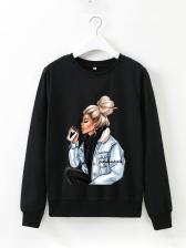 Cartoon Figure Printed Long Sleeve Sweatshirts For Women