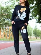 Cartoon Figure Printed Long Sleeve 2 Piece Outfits