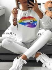 Colorful Lips Printed Long Sleeve Sweatshirt