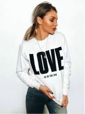 Letter Printed Crew Neck Sweatshirts For Women