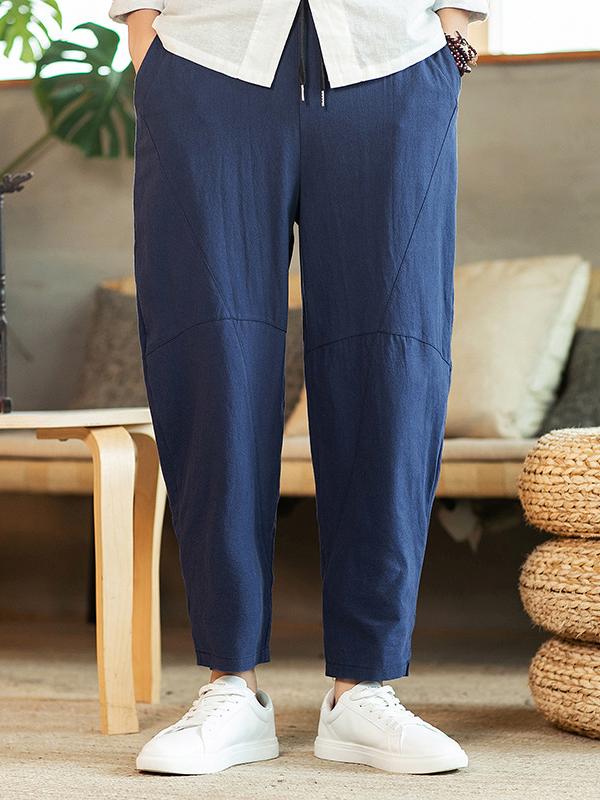 Vintage Plus Size Solid Loose Long Pants