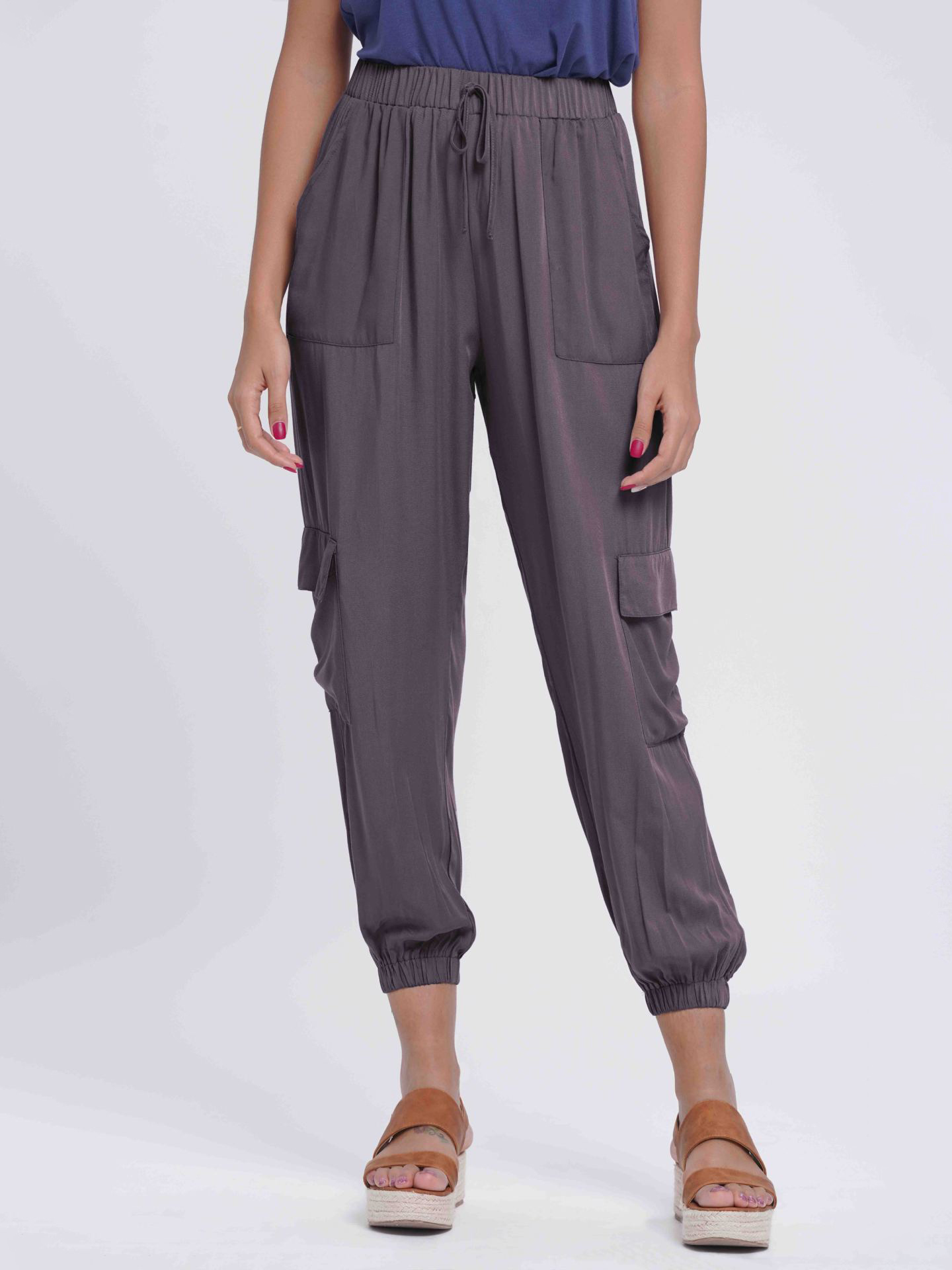 Solid Drawstring Cargo Pants For Women