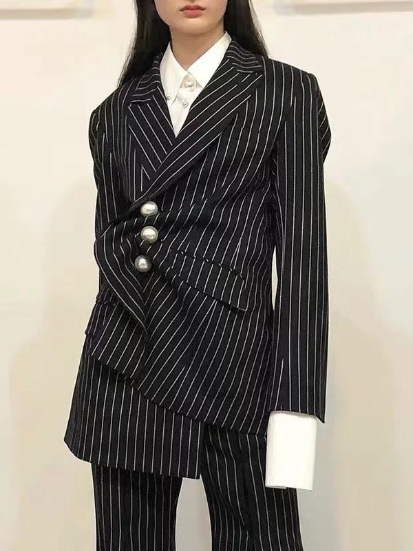 Irregular Striped Black Blazer Coat