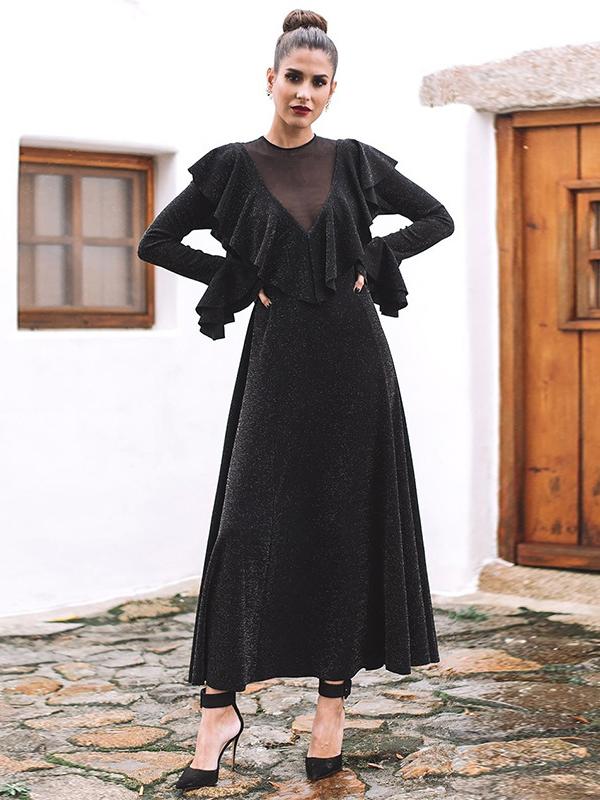 Fashion Gauze Patchwork Ruffle Black Maxi Dress