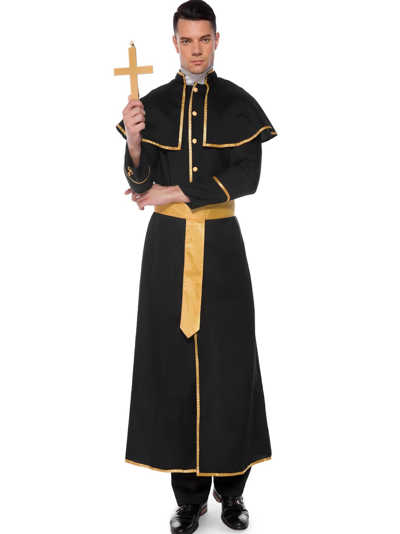 Christ Priest Black Robes Halloween Costumes For Men