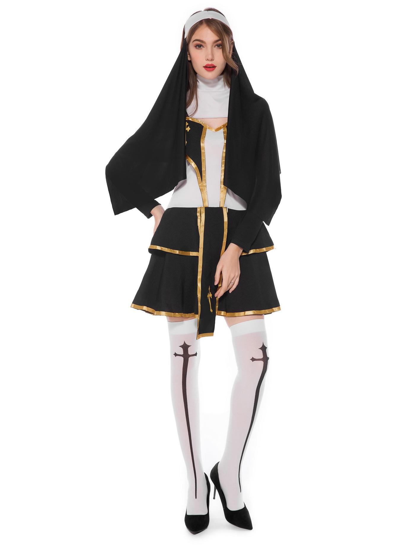 Contrast Color Sleeveless Dress Halloween Nun Costume