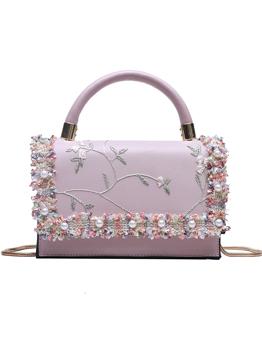 Faux Pearl Decor Embroidery Handbag For Women