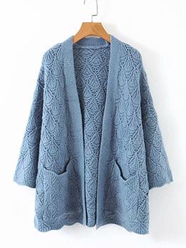 Loose Solid Pocket Long Cardigan Sweater