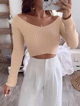 Pure Color Cropped Top Khaki Long Sleeve Shirt
