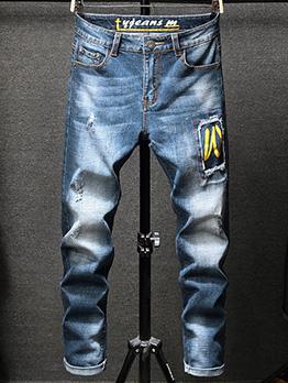Elastic Printed Straight Pencil Boyfriend Jeans
