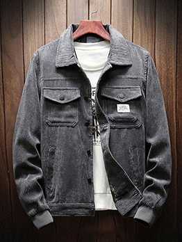 Retro Solid Pockets Men Bomber Jacket