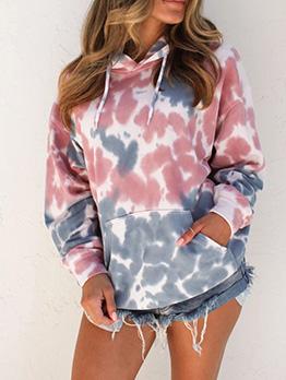Contrast Color Printed Long Sleeve Hoodies For Women