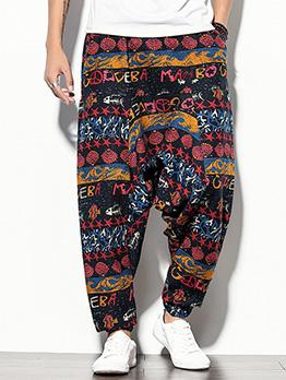 National Printed Vintage Linen Harem Pants