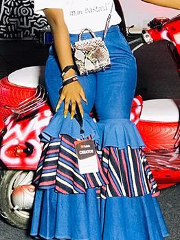Fashion Washed Denim Patchwork Flare Pants