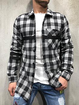 Loose Plaid Long Sleeve Men Shirt