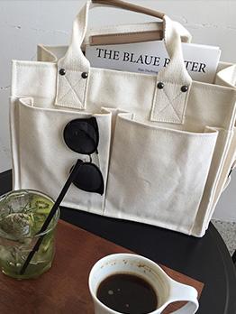 Large Pockets Adjustable Belt White Shoulder Bag
