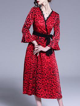 Flare Sleeve Leopard Printed Ladies Dress