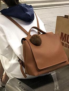 Plush Ball Decor Large Capacity Women Backpack