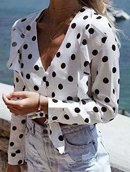 Ruffled Dot V Neck Long Sleeve White Blouse