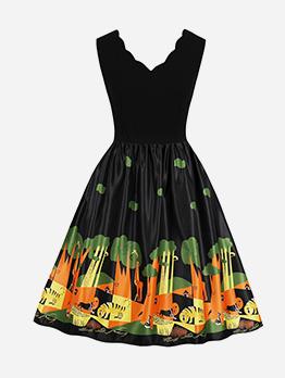 V Neck Fitted Sleeveless Halloween Printed Dress