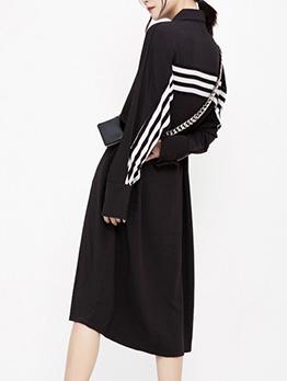 Casual Button Down Chiffon Long Sleeve Midi Dress