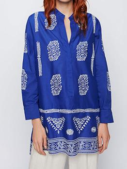 Vintage Embroidery Long Sleeve Looser Ladies Blouse