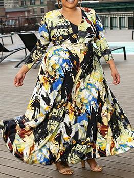 Fashion Printed Large Hem Plus Size Long Dress