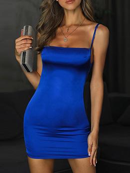 Simple Slim Fit Solid Slip Sexy Dress