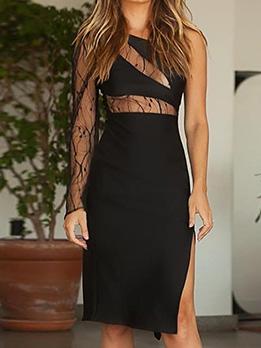 Chic Gauze Patchwork Cut Out Slit Dresses
