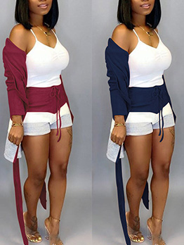 Long Sleeve Cardigan With Contrast Color Shorts
