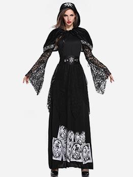 Lace Stitching Printed Maxi Dress Halloween Vampire Costume