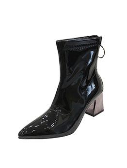 Solid Metal Zipper Chunky Heel Boots