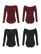 Solid V Neck Slim Waist Long Sleeve Bodysuit